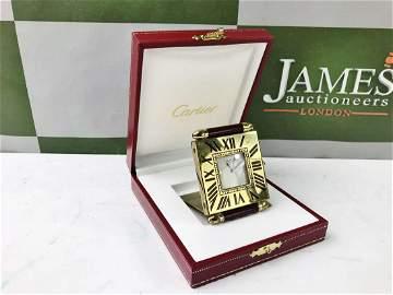 Cartier Travel /Desk Alarm Clock, Gold Plated