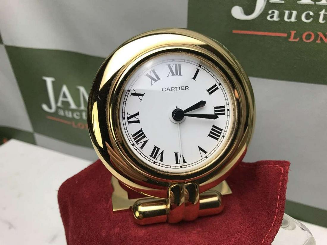 Cartier Rivoli Gold Plated Large Travel Clock