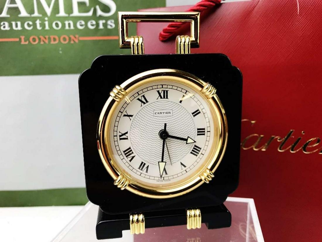 Cartier Travel /Desk Alarm Clock, Onyx & Gold Plated