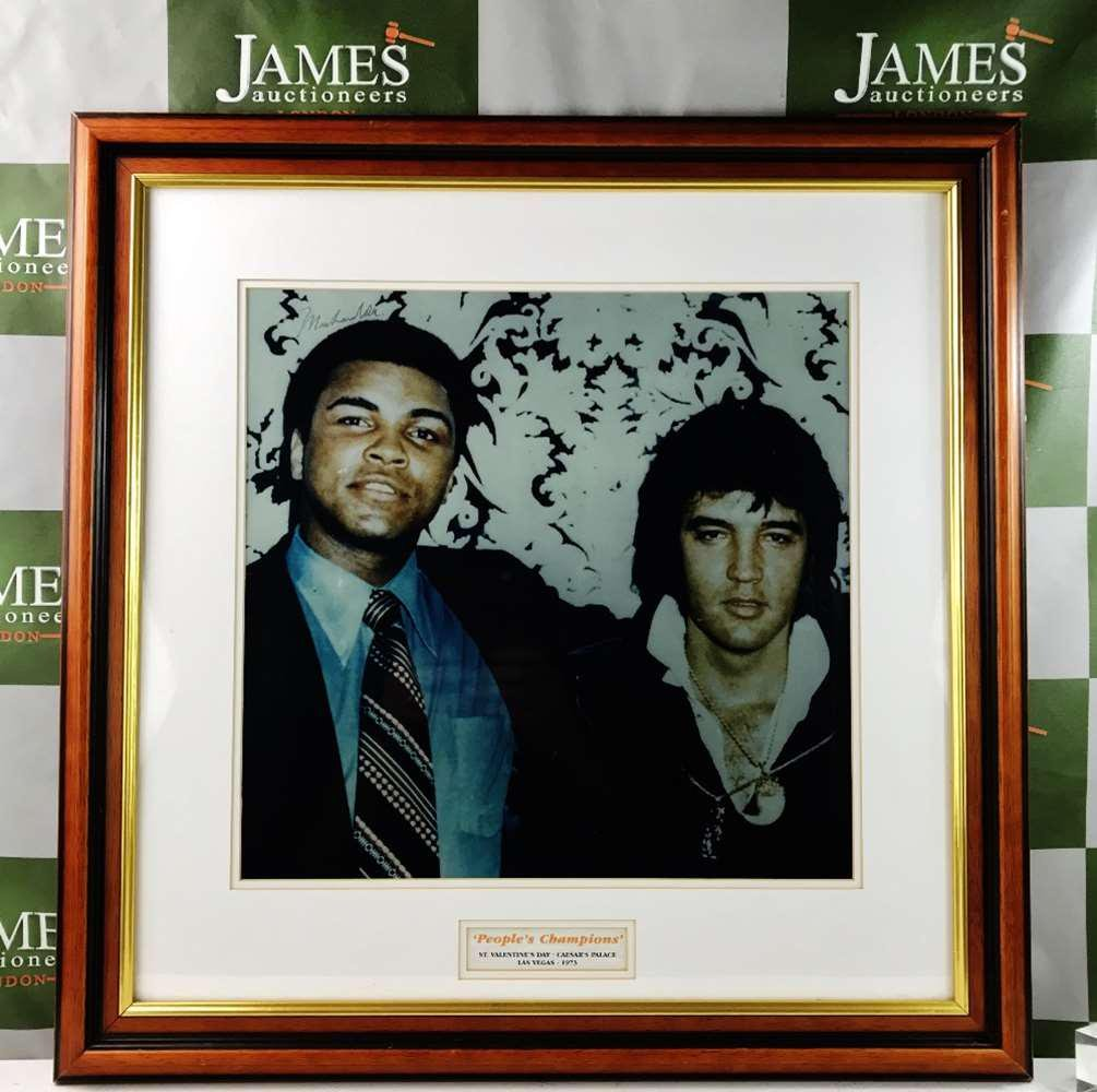 Muhammad Ali & Elvis Presley Montage Signed By Ali In