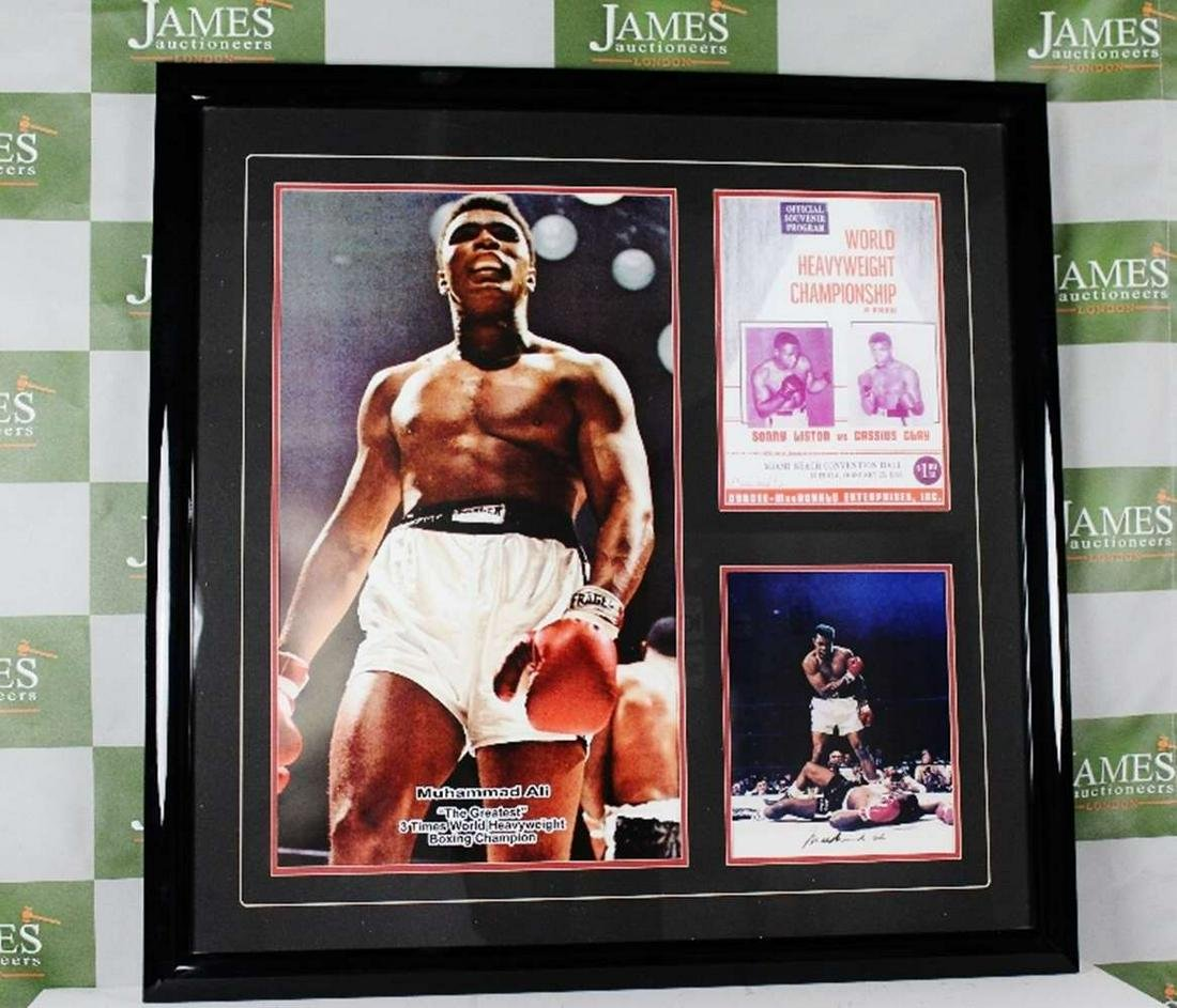 Muhammad Ali vs Sonny Liston Signed Boxing Montage
