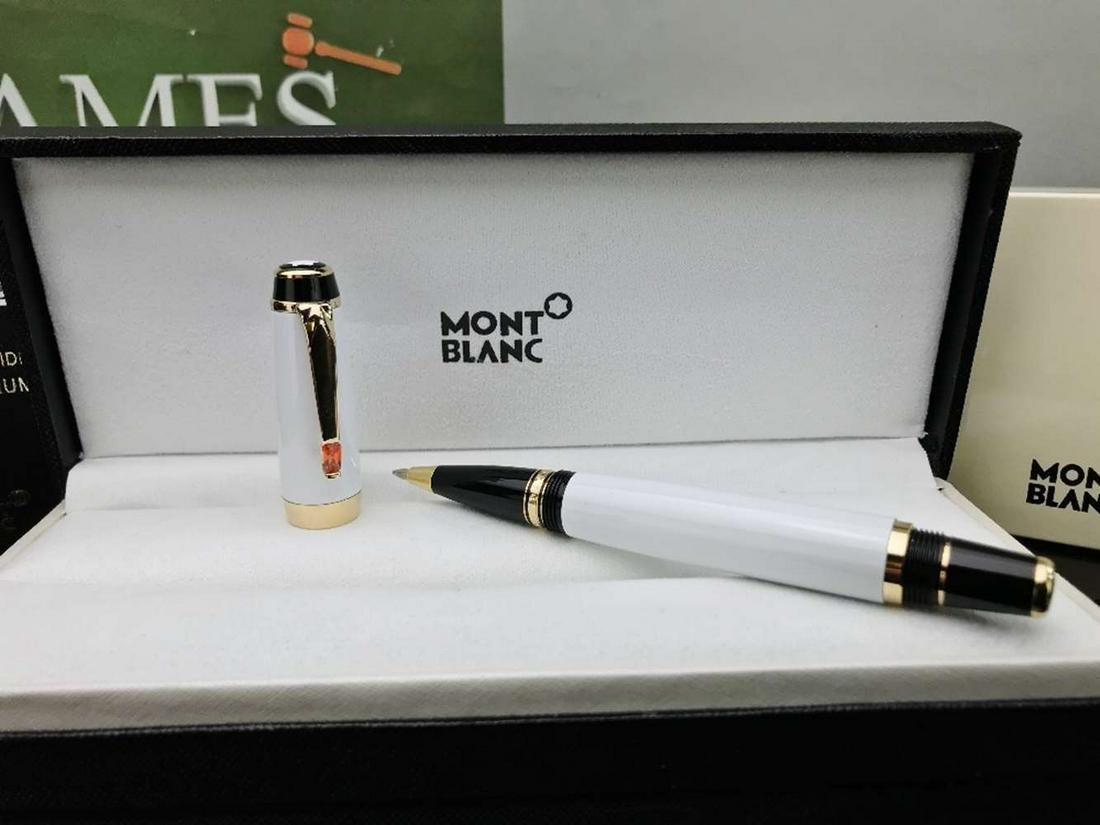 Montblanc Boheme White & Gold Resin Ballpoint Pen-New