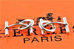 Hermes Silver 925 chaine d'ancre Cufflinks