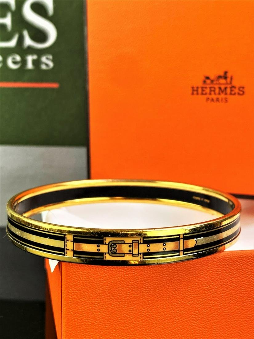 Hermes Gold Plated Grand Menege Belt Design Black/Tan