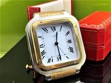 Cartier Paris Santos Gold Plated Desk Clock & Case
