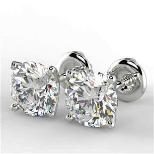 Pair of New 1.46 Carat Round Cut VS1/D Diamond Stud