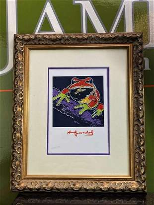 """Andy Warhol 1984 """" Frog"""" Numbered Lithograph, Plate"""