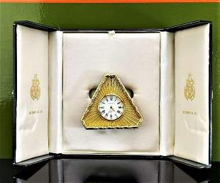 Kitney & Co Vintage Gold Plated Desk Clock, Made in