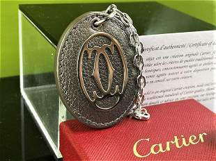 Cartier Plated & Leather Key Ring, New Example