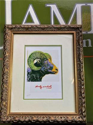 """Andy Warhol 1984 """" Ram"""" Numbered Lithograph, Plate"""