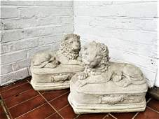 Pair of Matching Stone Lions on Pedestal