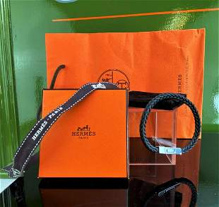 """Hermes Paris """"Joker"""" Leather & Plated Bracelet Dark"""
