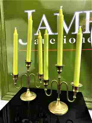 Pair of Vintage Brass Candlesticks & Candles