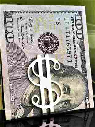 Vintage Sterling Silver Money Clip American Dollar Art