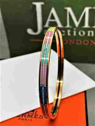 Hermes Monogram Belt, Pastel Pink, Blue etc Enamel &