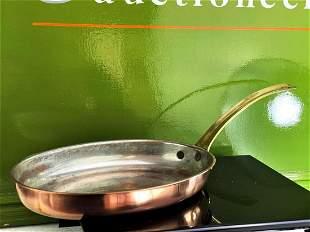 Stamped Oval Vintage Lined Copper Fish Saute Skillet