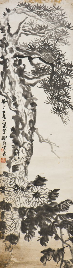 A CHINESE SCROLL PAINTING OF MOTIF, AFTER CHEN HENGGE