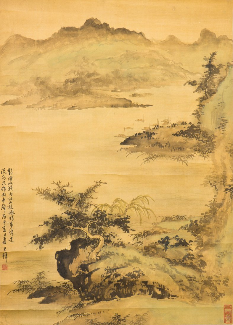 A CHINESE SCROLL PAINTING OF LANDSCAPE MOTIF, AFTER