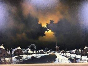 Toon Koster original oil painting night village Dutch