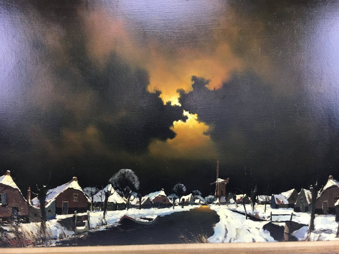 Toon Koster original oil painting night village Dutch