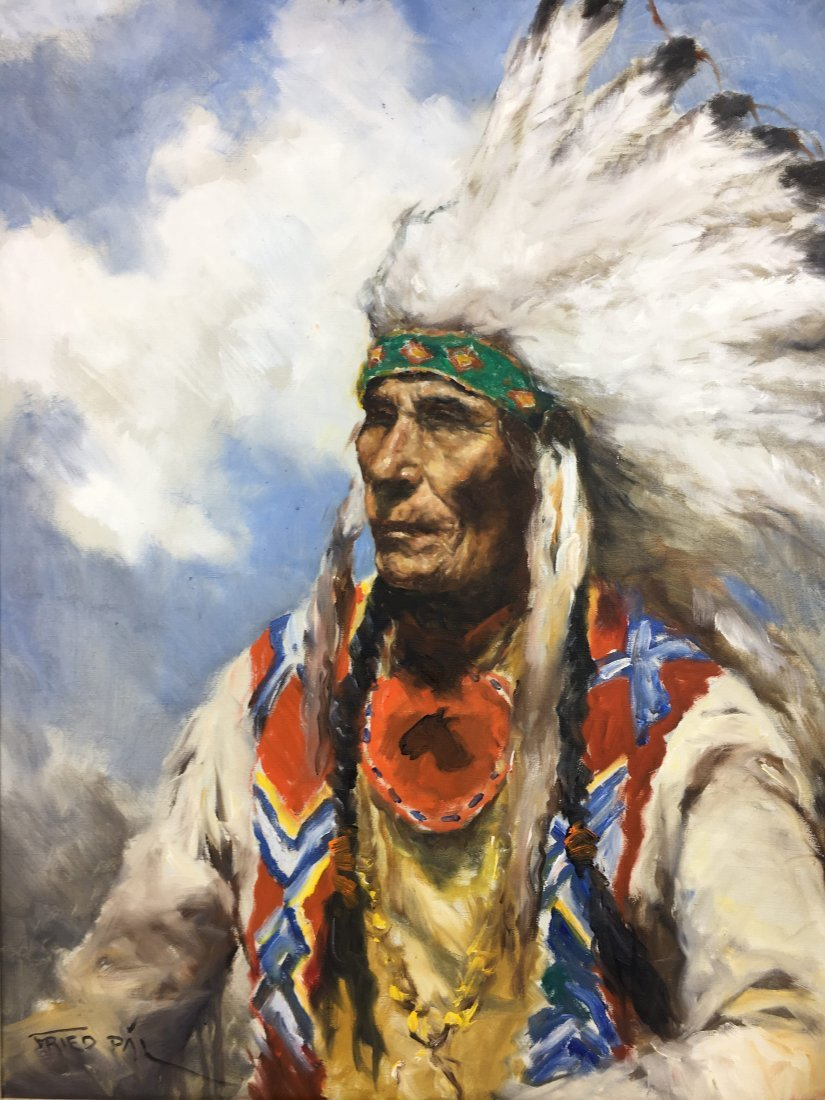 Pal Fried (1893-1976) original painting Indian Chief