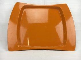 Jens Quistgaard orange lacquer tray for Dansk 1960