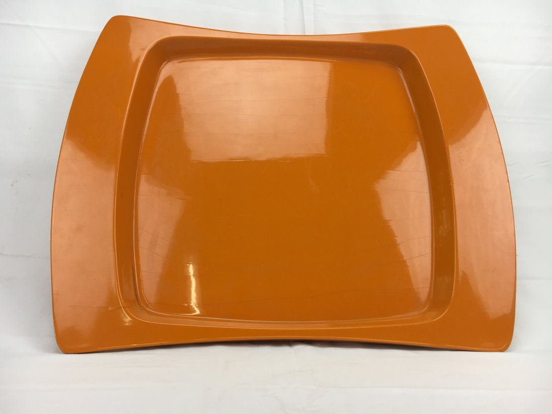 Jens Quistgaard orange lacquer tray for Dansk 1960