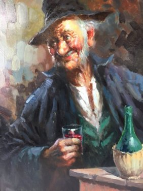 Impressionist painting of drinking man in tavern signed