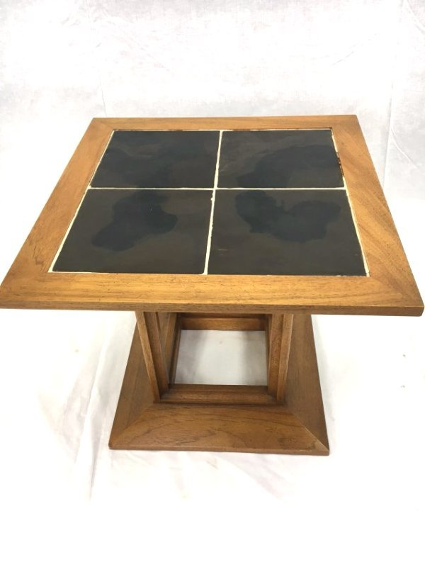 Heritage tile top end table Mid Century Modern