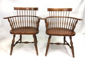 pair Gustav Stickley captain's chairs
