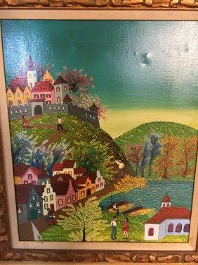 A. Kowalski folk art village painting