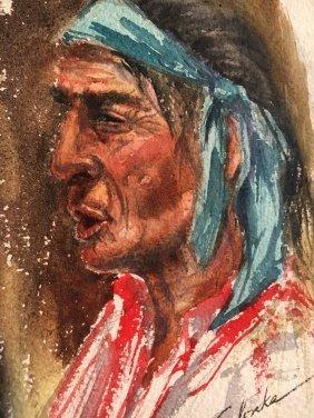 Irene Selonke Native American Indian orig. watercolor