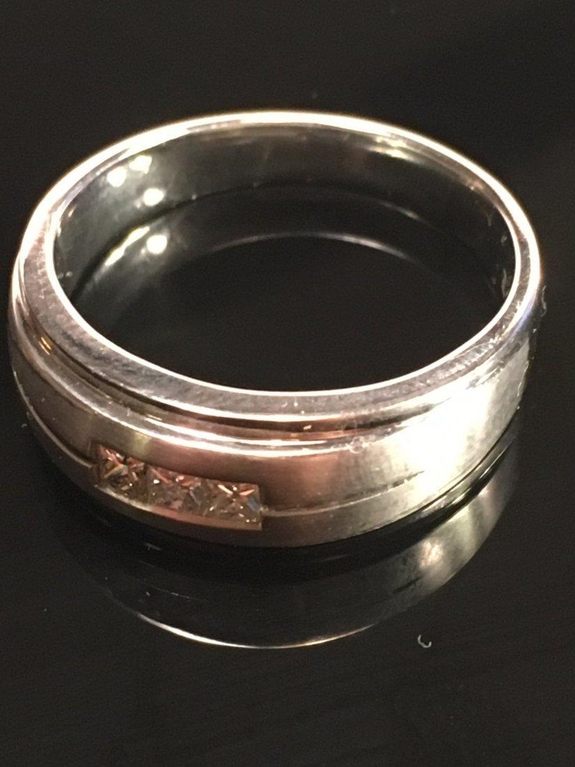 Bold Men's 14k White Gold & Diamond Ring