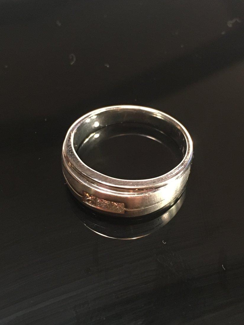 Bold Men's 14k White Gold & Diamond Ring - 2