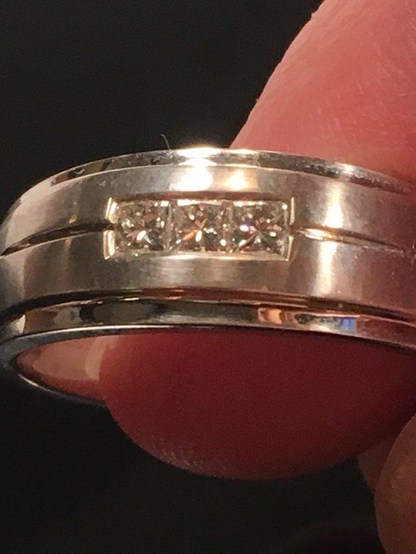Bold Men's 14k White Gold & Diamond Ring - 5