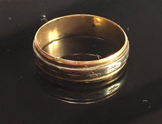 Mens Classic Yellow & White Gold Band Ring