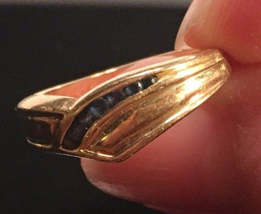 Glamorous Ladies Gold & Sapphire Pavé Ring - 3