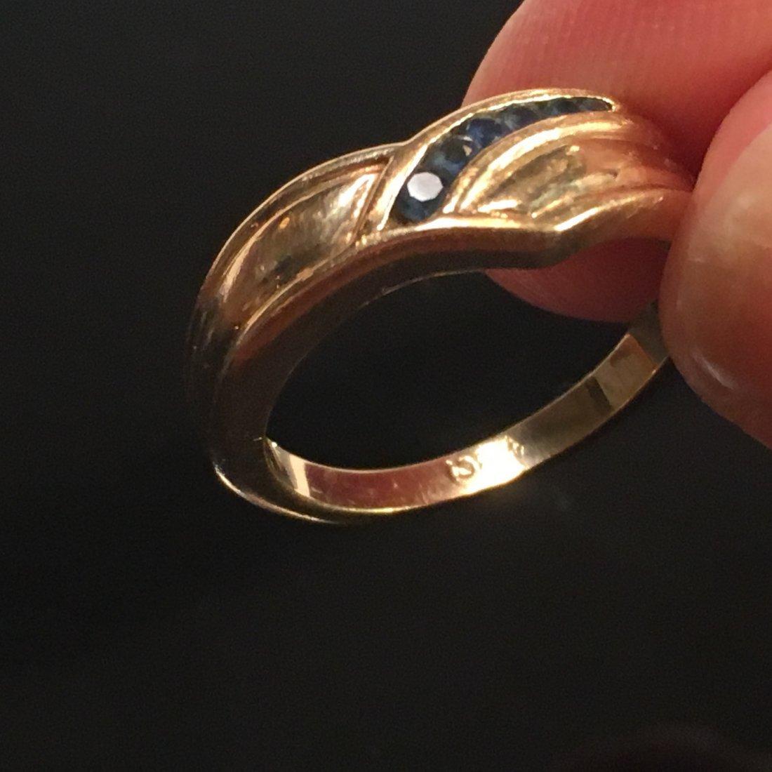 Glamorous Ladies Gold & Sapphire Pavé Ring - 4