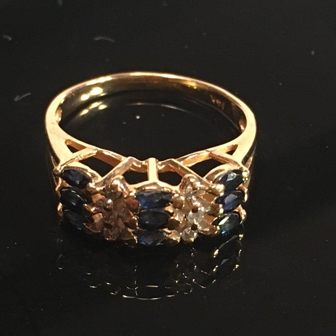 Feminine Ladies Sapphire & Diamond Ring Gold Setting