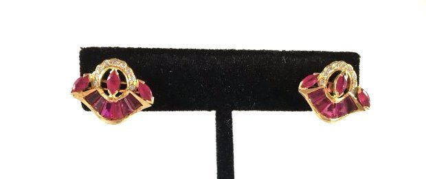 Radiant Ruby & Diamond Earrings in 18K Gold GIA