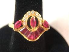 Elegant Ruby  Diamond Ring 18k Gold GIA