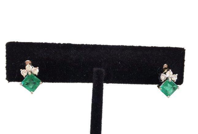 Phenomenal Emerald & Diamond Earrings set in 14k gold