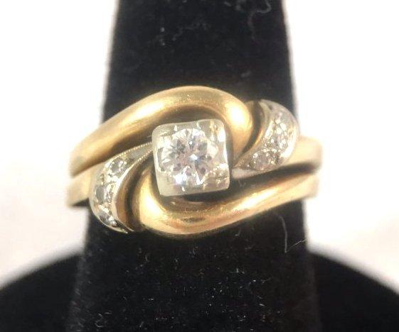 Round Brilliant Diamond Ring Set in 14K Yellow Gold - 2