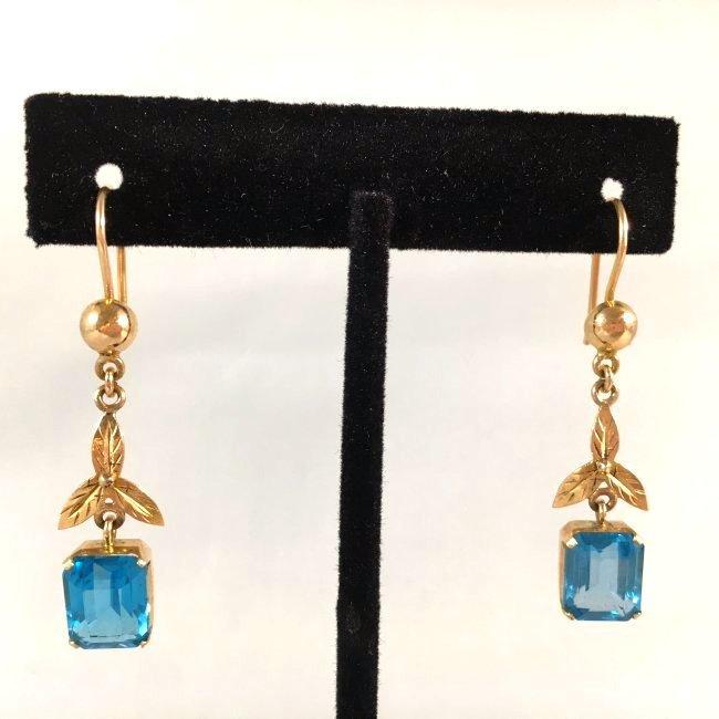 Carribean Blue Topaz & 14k Yellow Gold Dangle Earrings