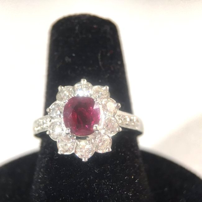 Natural Ruby Ring Surrounded by Diamonds 18K White Gold