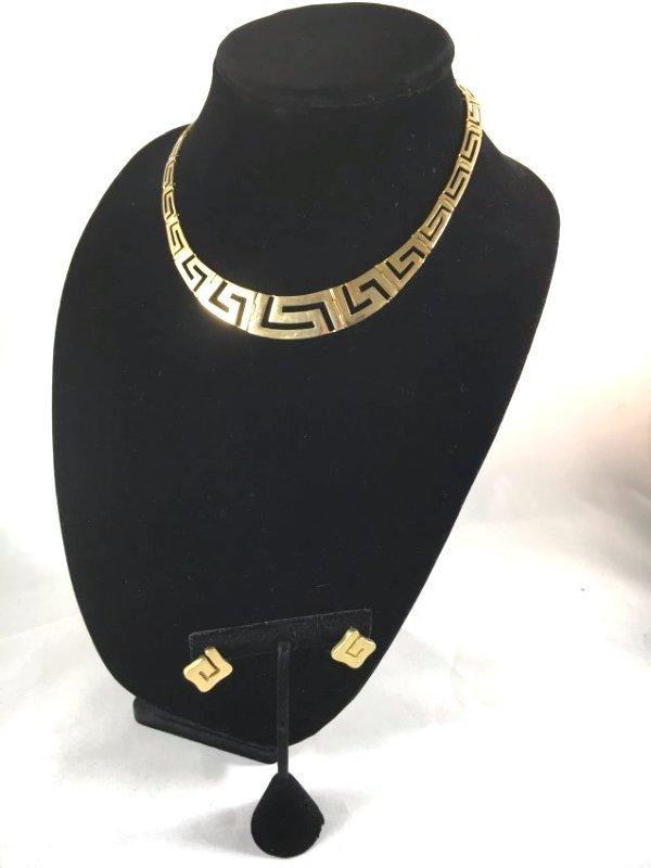 Greek Key Gold Necklace & Earrings Demi-Parure