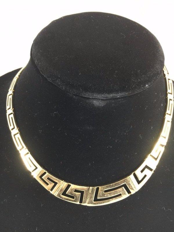 Greek Key Gold Necklace & Earrings Demi-Parure - 2