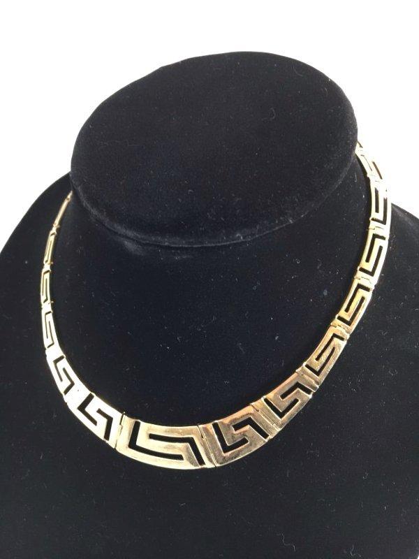 Greek Key Gold Necklace & Earrings Demi-Parure - 3