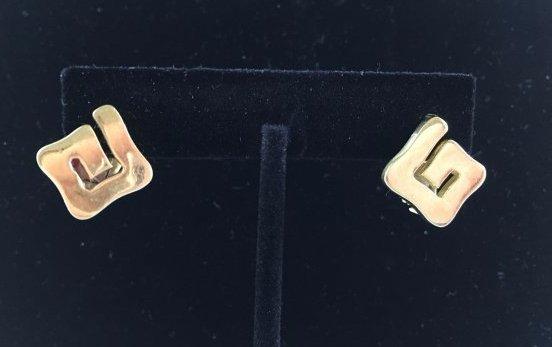 Greek Key Gold Necklace & Earrings Demi-Parure - 4