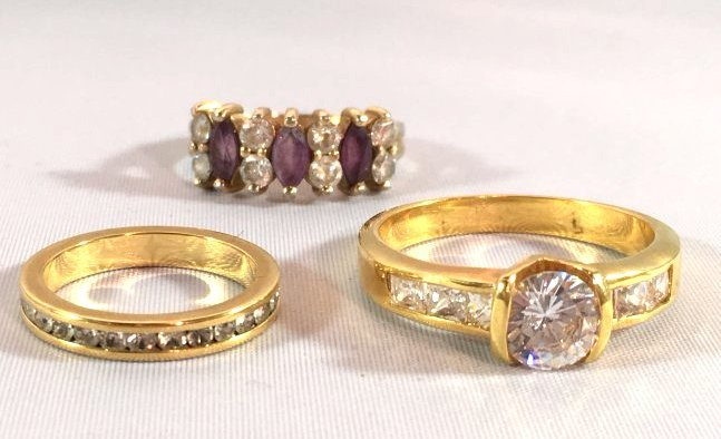 3 Ladies Rings Marquise Amethyst & Sterling